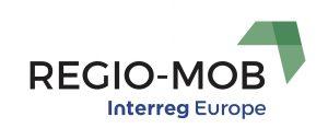 Logo w postaci zielonej strzałki z napisem Regio-Mob. Interreg Europe.