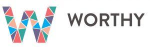 Napis WORTHY i logo projektu złożone z wielu kolorowych elementów