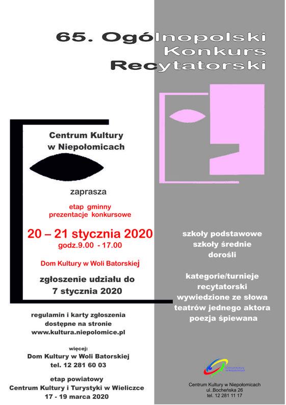 65 Ogólnopolski Konkurs Recytatorski Wydarzenia Niepołomice