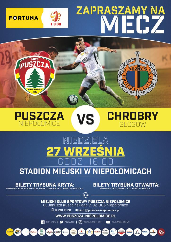 Plakat zapraszający na mecz Puszcza Niepołomice z Chrobrym Głogów w niedzielę o godz. 16