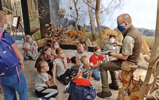Leśnik opowiada dzieciom o Puszczy Niepołomickiej.