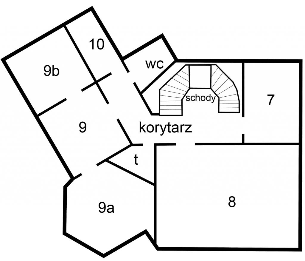Plan pomieszczeń na I piętrze urzędu przy pl. Zwycięstwa 13