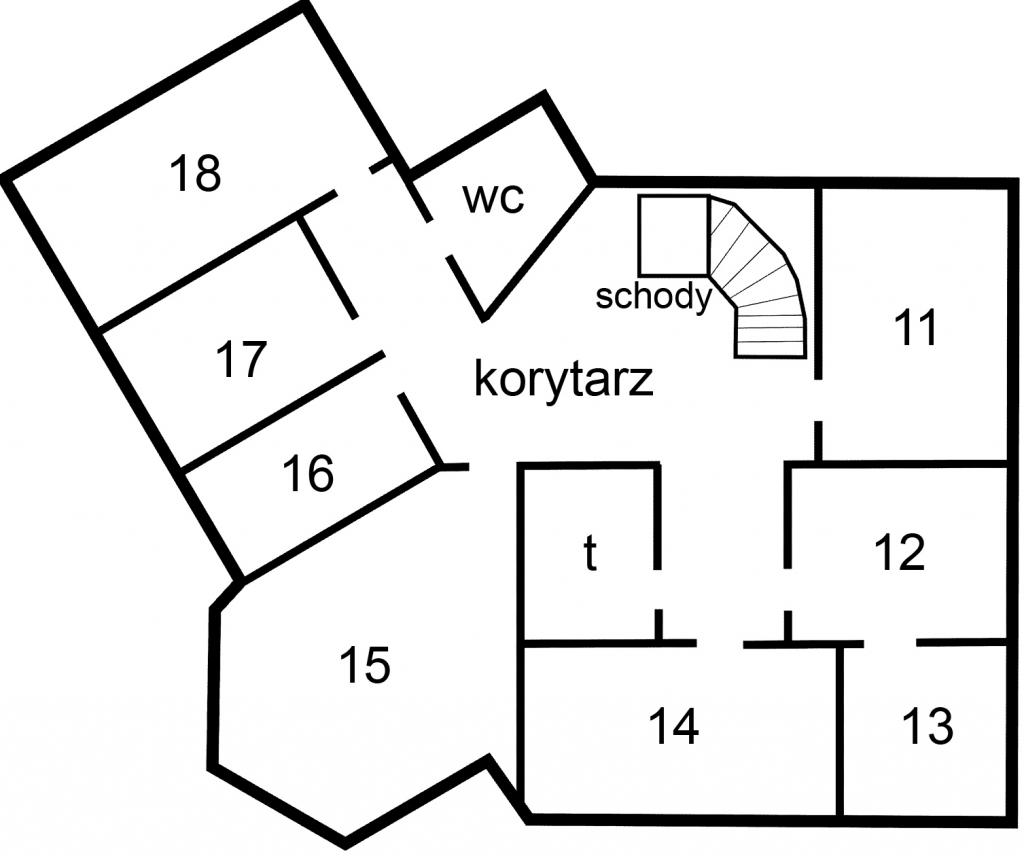 Plan pomieszczeń na II piętrze urzędu przy pl. Zwycięstwa 13