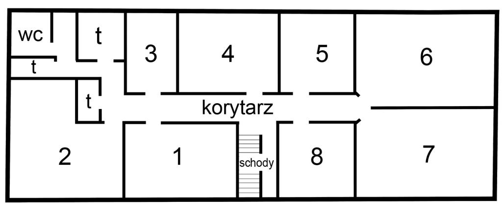 Plan pomieszczeń na I piętrze urzędu przy ul. Zamkowej 5