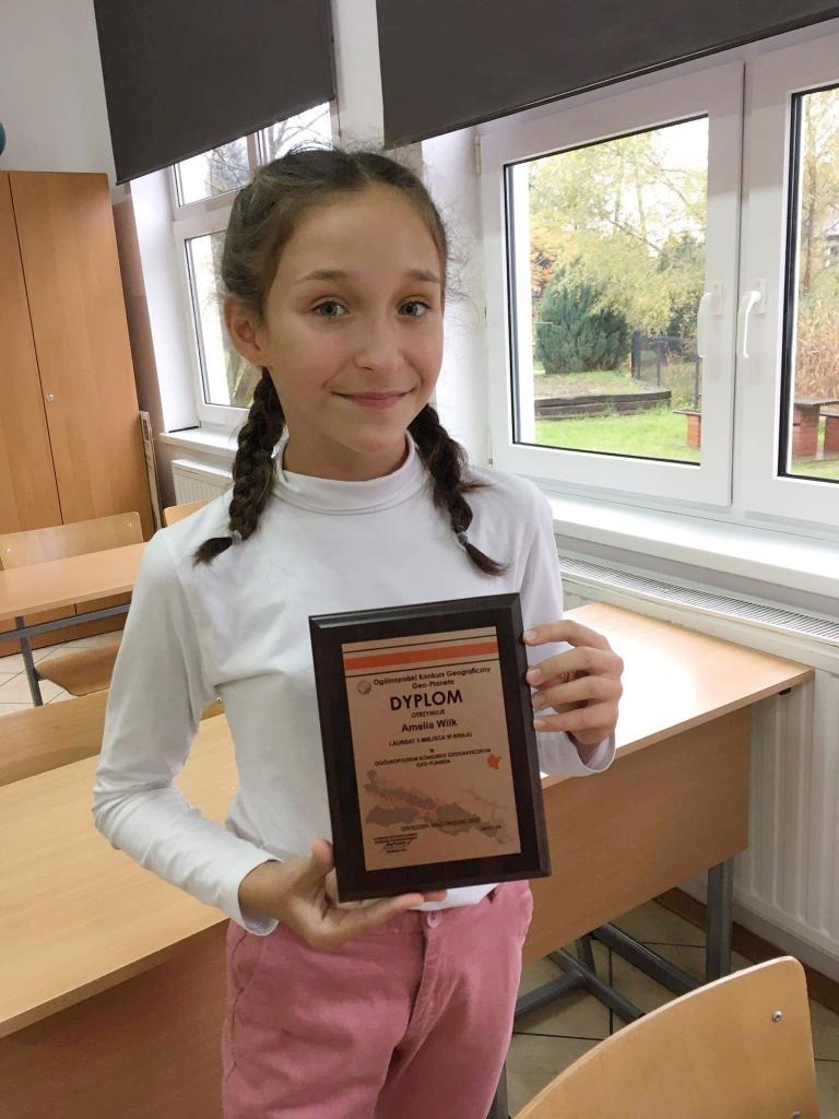 Amelia, zdobywczyni 3 miejsca w konkursie geograficznym