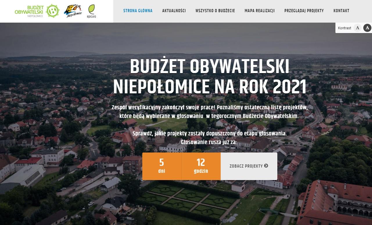 Zrzut ekranu strony internetowej Budżetu Obywatelskiego Gminy Niepołomice