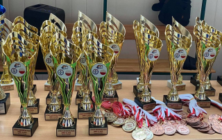 Puchary i medale dla zwycięzców Mistrzostw Polski Combat Ju-Jutsu
