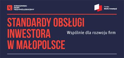 """Baner z napisem """"Standardy obsługi inwestora w Małopolsce"""""""
