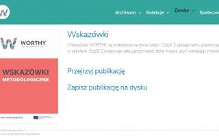 Zrzut ekranu platformy WorldWars.eu z e-książka Wskazówki metodologiczne