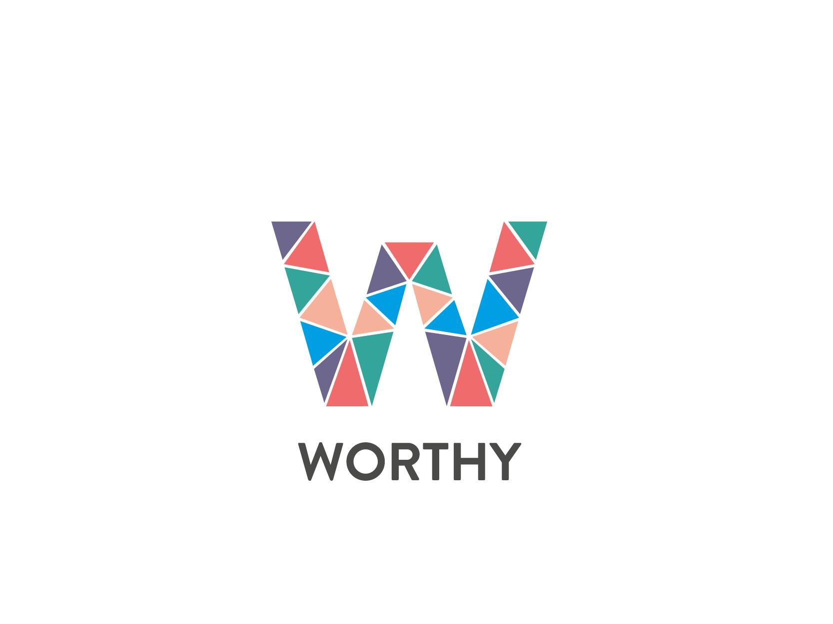 Logo projektu Worthy - litera W złożona z wielu kolorowych elementów