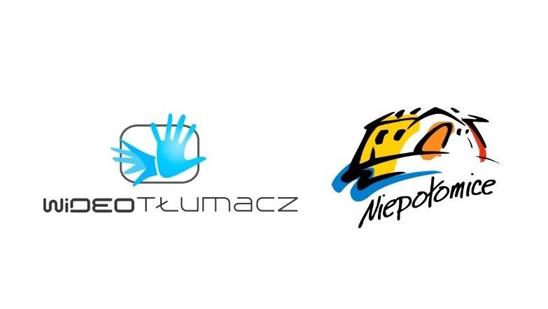 Plansza z logo usługi Wideotłumacz i z logo Niepołomic