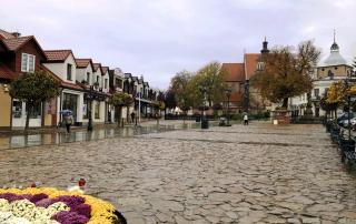 Fragment Rynku w Niepołomicach. W lewym dolnym rogu chryzantemy przy fontannie Leśniczanki