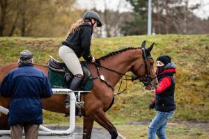 Marta Wypiór podczas skoków na zawodach konnych w Zielonej Górze