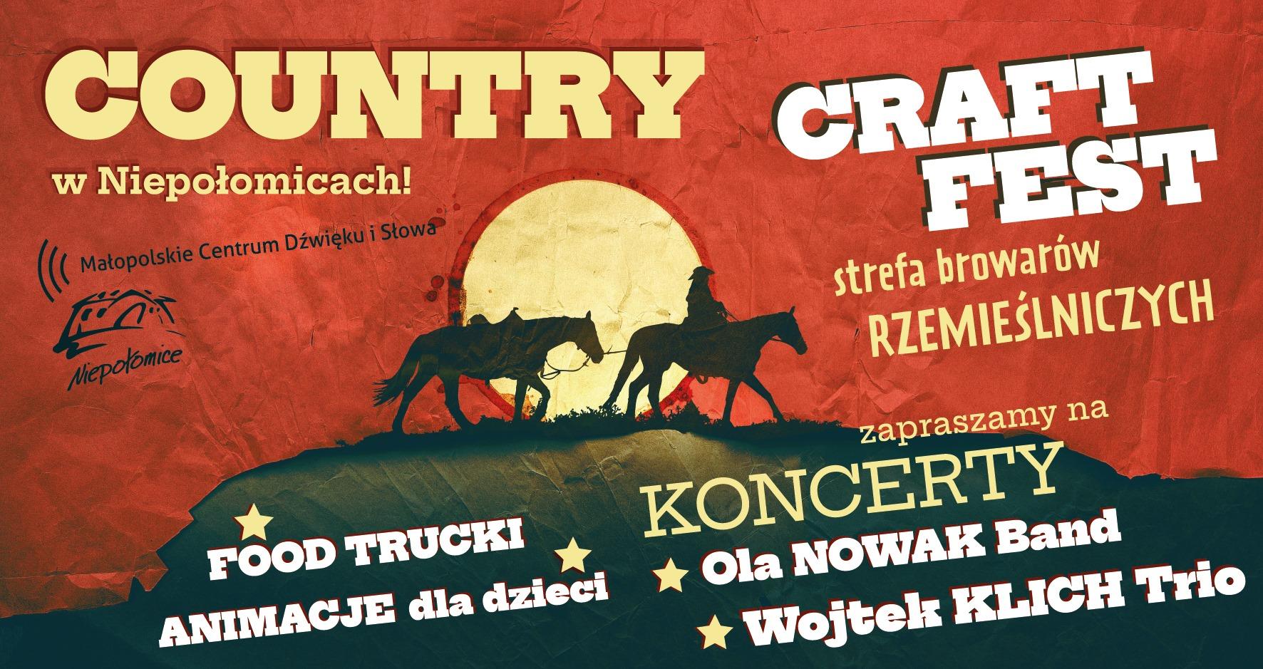 Plakat imprezy plenerowej Country w Niepołomicach