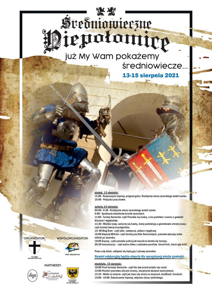 Plakat imprezy Średniowieczne Niepołomice - walczący rycerze