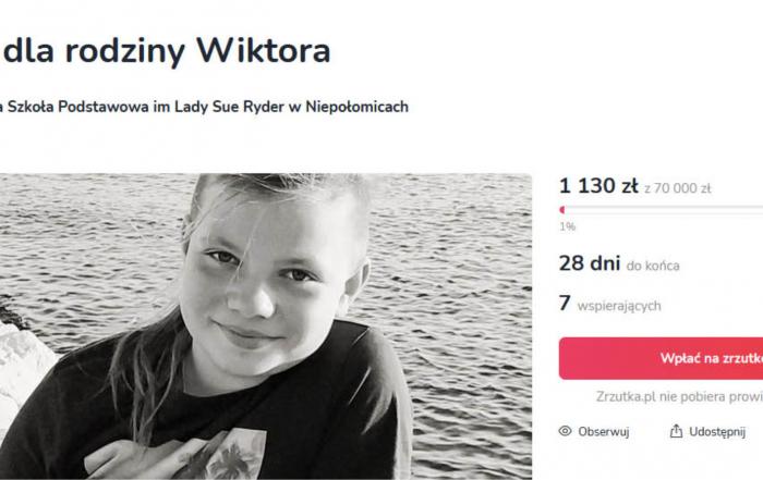 Zrzutka na rzecz rodziny 11-letniego Wiktora