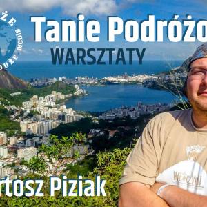 Plakat zapraszający na spotkanie Tanie podróżowanie